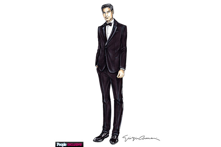 See George Clooney\'s Armani Wedding Tuxedo Sketch - People.com ...